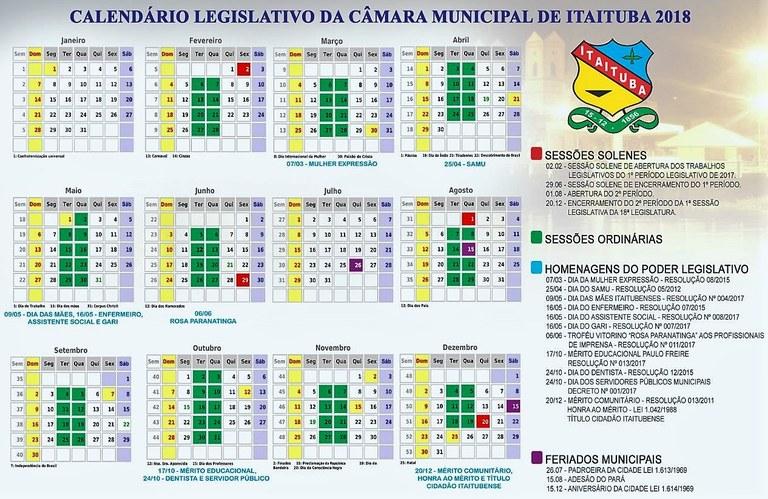 CALENDÁRIO DO LEGISLATIVO MUNICIPAL