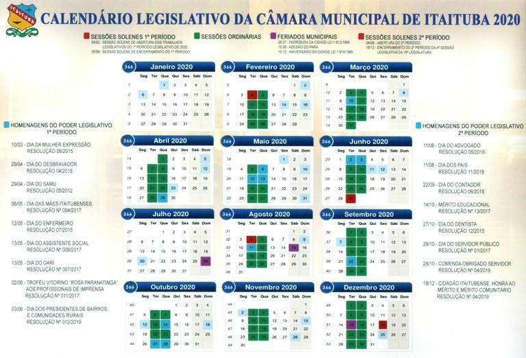 Calendário Legislativo CMI 2020.